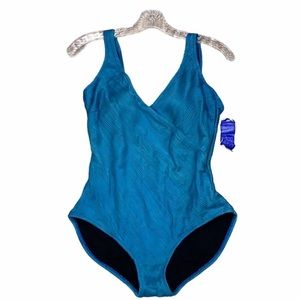 Gottex teal full coverage textured swimsuit Sz 10
